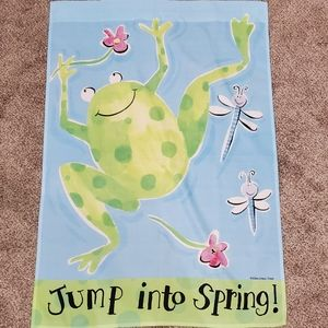 Jump Into Spring Porch Flag